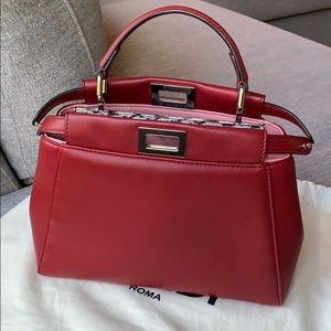 Fendi Mini Peekaboo in Red with Python
